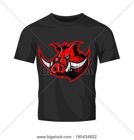 Furious boar head sport club vector logo concept isolated on black t-shirt mockup. Modern professional mascot team badge design.Premium quality wild animal t-shirt tee print illustration design.