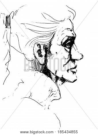 Pencil drawings of grandmother. Face of an old woman.