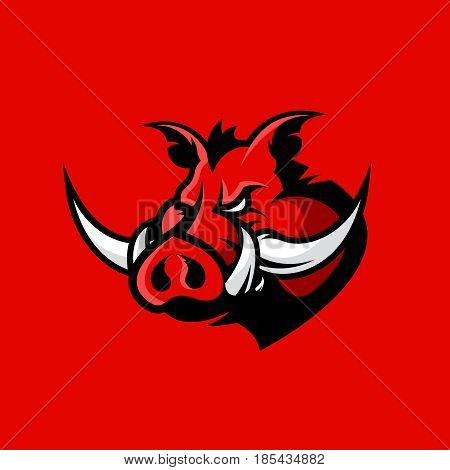 Furious boar head sport club vector logo concept isolated on red background. Modern professional mascot team badge design.Premium quality wild animal t-shirt tee print illustration.