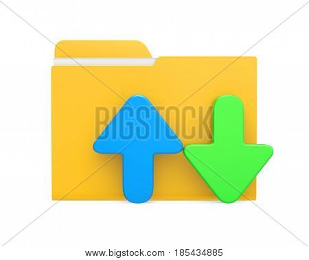 Folder with Upload Download Icon isolated on white background. 3D render