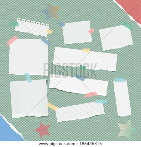 Ripped white note, notebook, copybook strips stuck with colorful sticky tape, stars on squared green background and torn paper on corners.