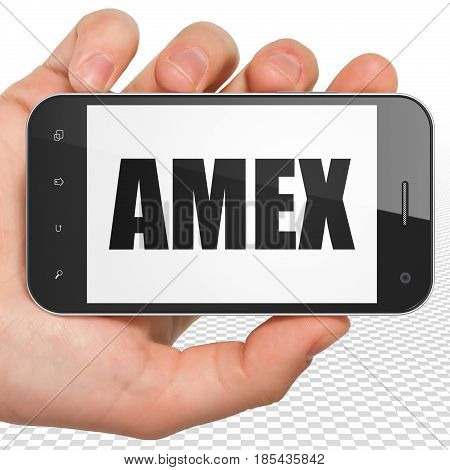 Stock market indexes concept: Hand Holding Smartphone with black text AMEX on display, 3D rendering
