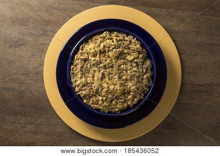 Farofa - Toastef Manioc Flour And Pork - Traditional Brazilian Side Dish.