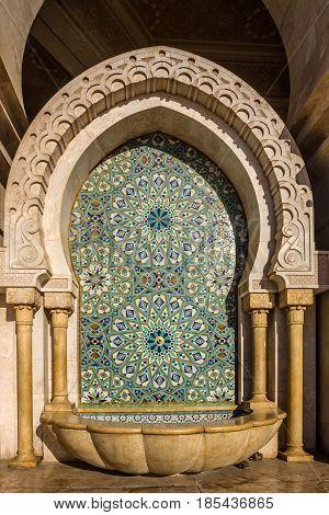 Casablanca, Morocco. Washstand in Mosque Hassan II