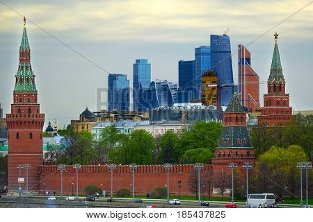 Moscow, Russia - May, 7, 2017: The image of Moscow Kremlin and skyscraper of Moscow city