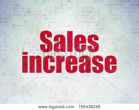 Advertising concept: Painted red word Sales Increase on Digital Data Paper background