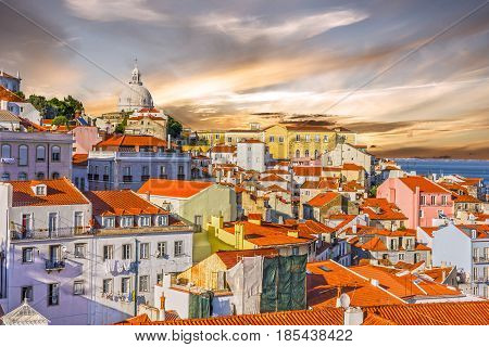 Lisboa cityscape, Pantheon cathedral building architecture, Portugal