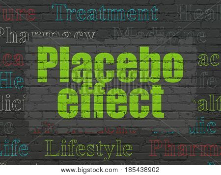 Medicine concept: Painted green text Placebo Effect on Black Brick wall background with  Tag Cloud