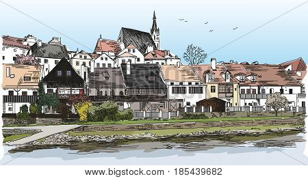 Colored Vector panoramic view of Cesky Krumlov city in Czech Republic with roofs houses and a pond hand drawing Illustration