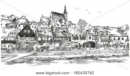 Vector panoramic view of Cesky Krumlov city in Czech Republic with roofs houses and a pond hand drawing Illustration on white background