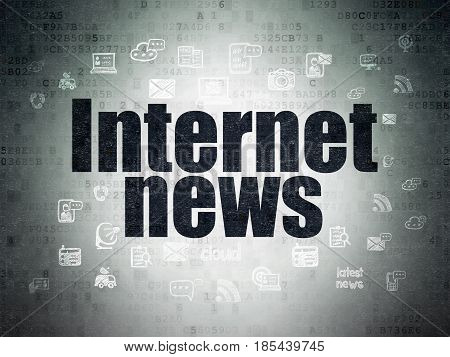 News concept: Painted black text Internet News on Digital Data Paper background with  Hand Drawn News Icons