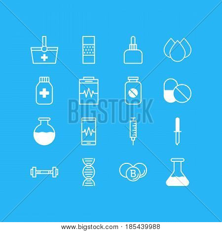 Vector Illustration Of 16 Medicine Icons. Editable Pack Of Aspirin, Genome, Treatment And Other Elements.