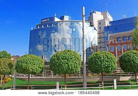 KYIV, UKRAINE - MAY 01, 2017: Splendid shining Hotel Hyatt Opens 5-Star inn (234 rooms) in center of famous Sofia Place at bright sunny spring day