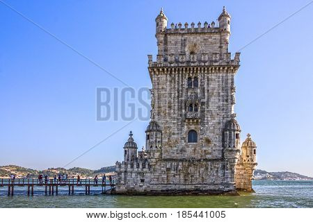 Belem tower building fortress architecture, Lisbon, Portugal