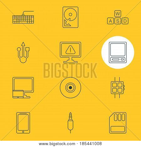 Vector Illustration Of 12 Computer Icons. Editable Pack Of Qwerty Board, Objective, Storage And Other Elements.