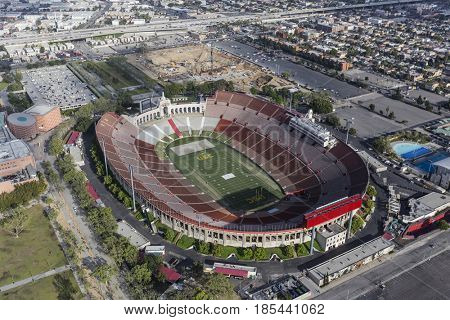 Los Angeles, California, USA - April 12, 2017:  Aerial view of the historic Coliseum stadium near downtown and USC.