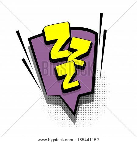Lettering ZZZ, sleep. Comics book text balloon. Bubble icon speech phrase. Cartoon font label offer tag expression. Sounds vector effect halftone illustration.
