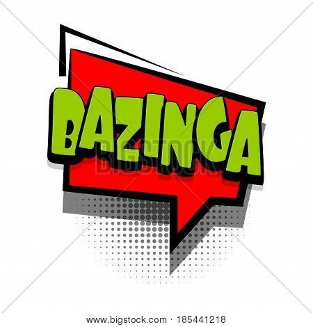 Lettering BAZINGA. Comics book text balloon. Bubble icon speech phrase. Cartoon font label offer tag expression. Sounds vector effect halftone illustration.