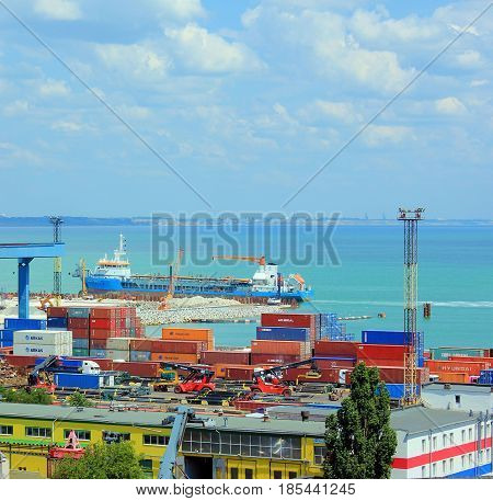 Odessa, Ukraine - May 8, 2017: Container terminal in Quarantine harbor of Odessa sea commercial port
