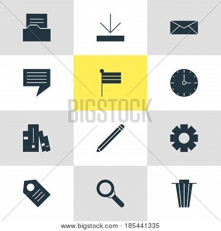 Vector Illustration Of 12 Internet Icons. Editable Pack Of Magnifier, Upload, Letter And Other Elements.