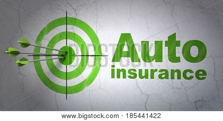 Success Insurance concept: arrows hitting the center of target, Green Auto Insurance on wall background, 3D rendering