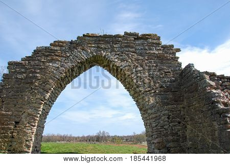 Ancient gothic arch at the swedish island oland