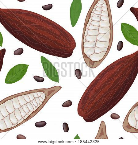 Ripe Cocoa fruit seamless pattern vector. Cacao pod and beans. Whole and half. Chocolate color. Close up. For cooking, cosmetics, medicine, health care, ointments, perfumery, decoration textile