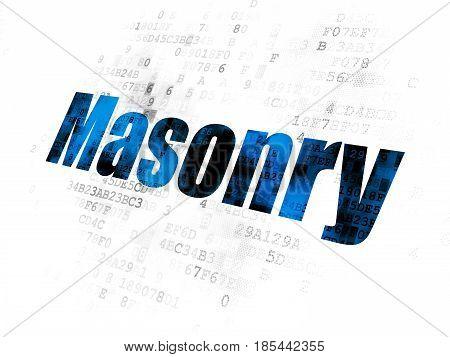 Construction concept: Pixelated blue text Masonry on Digital background