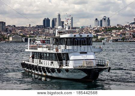 Istanbul Turkey - May 9, 2017: Cutter in Bosporus, Istanbul