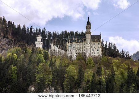Castle Neuschwanstein building architecture, Munich, Bavaria, Germany
