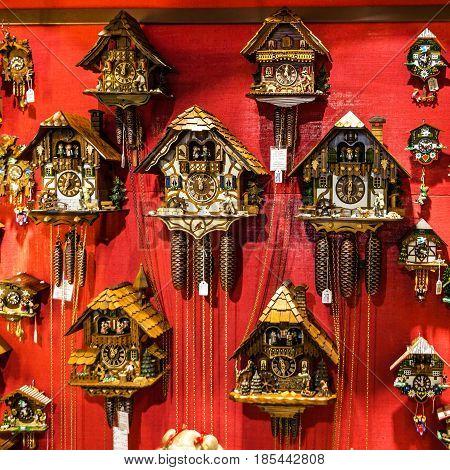 Munich, Germany - May 8, 2017: Cuckoo clocks in shop Bavaria, Munich, Germany