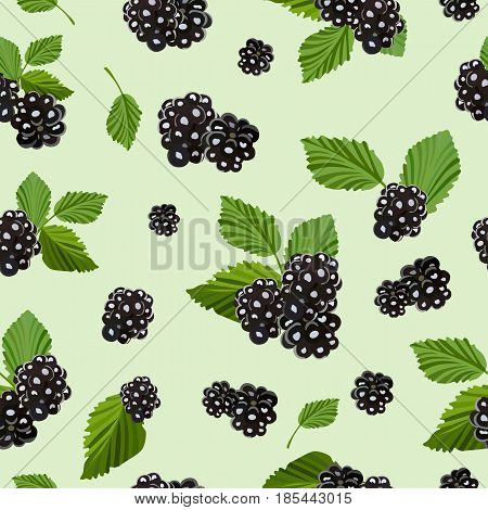 Color seamless pattern with blackberries. Forest berry. Sweet fruit. Perfect for wallpapers, web page backgrounds, surface textures, textile, packaging products and goods.