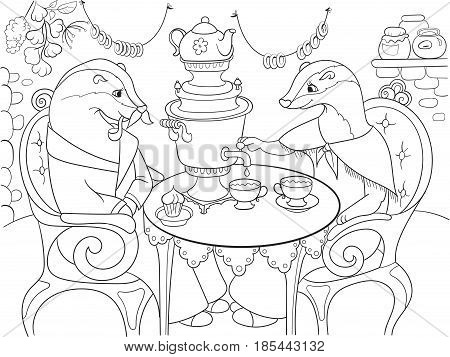 Family of badgers in their house in the kitchen coloring book for children cartoon vector illustration. Black and white interior of the house of animals