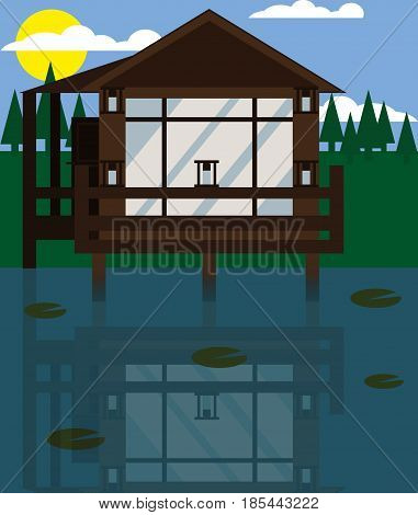 House on the water. Vector. Flat design. Illustration of house   In a daylight on the countryside next to the river.