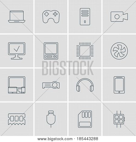 Vector Illustration Of 16 Computer Icons. Editable Pack Of Storage, Modern Watch, Gamepad And Other Elements.