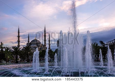 Istanbul, Turkey - May 9. 2017: Blue mosque Sultanahmet in Istanbul, Turkey