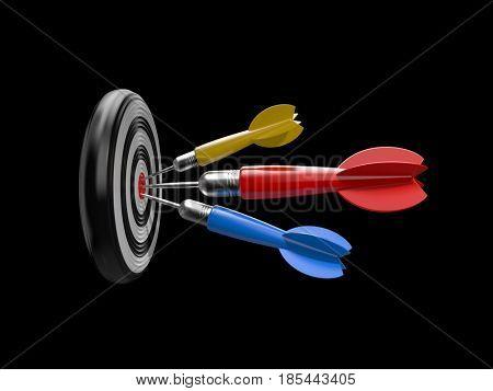 Three darts in the target center of dartboard. 3d illustration