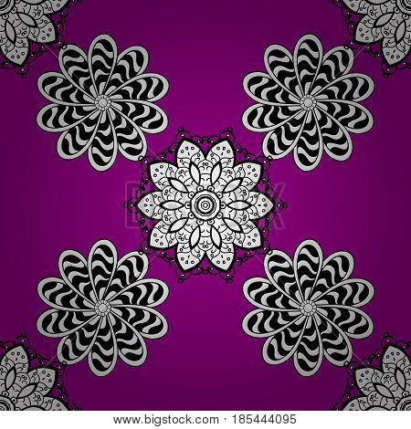 Luxury royal and Victorian concept. White element on magenta background. Vintage baroque floral seamless pattern in white over magenta. Ornate vector decoration.