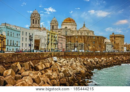 Cadiz, Spain. Seafront Cathedral church Campo del Sur