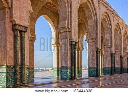 Casablanca. Morocco. Mosque Hassan II arcade gallery