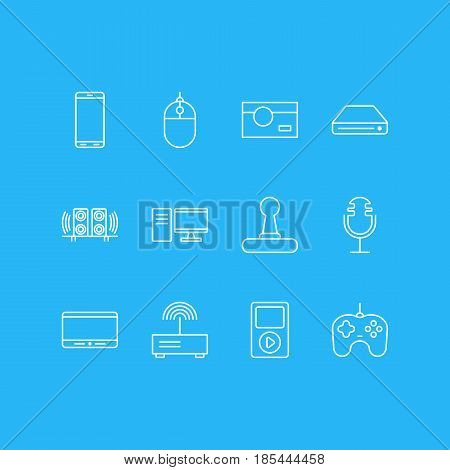 Vector Illustration Of 12 Technology Icons. Editable Pack Of Joypad, Modem, Memory Storage And Other Elements.
