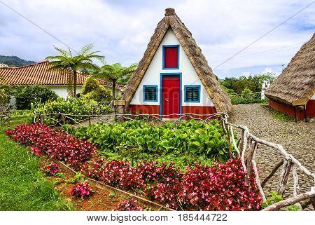 Madeira, Portugal - May 7, 2017: Rural house in Santana,  Madeira, Portugal.
