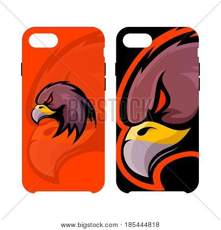 Furious eagle head sport vector logo concept smart phone case isolated on white background. Modern professional mascot team badge design. Premium quality wild bird artwork cell phone cover illustration.