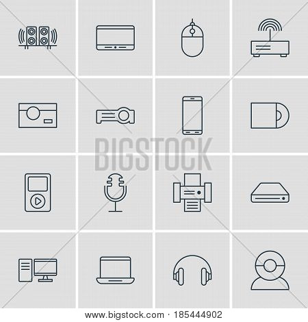 Vector Illustration Of 16 Hardware Icons. Editable Pack Of Memory Storage, Loudspeaker, Modem And Other Elements.