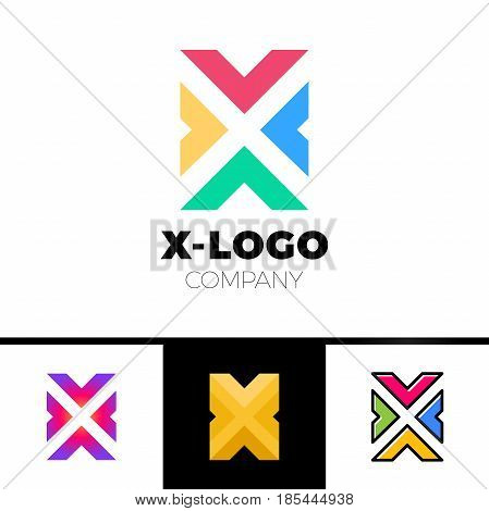 Letter X Logo Design Concept With Four Arrow. Colorful, Black Outline And Gradient Style