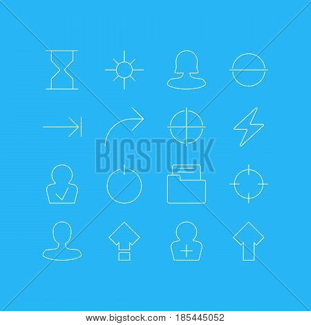 Vector Illustration Of 16 User Interface Icons. Editable Pack Of Screen Capture, Tabulation Button, Female User And Other Elements.