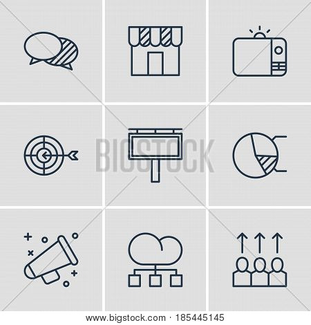 Vector Illustration Of 9 Advertising Icons. Editable Pack Of Television, Circle Diagram, Advancement And Other Elements.