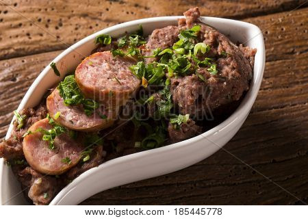 Mashed Beans With Sausage Called Tutu De Feijao In Brazil