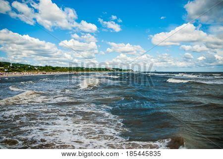 Rough sea at german coast Eastern Sea clouds beach