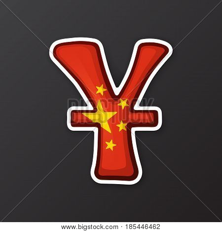 Vector illustration. Yuan sign in national flag colors with one line. Symbol of world currencies. Sticker in cartoon style with contour. Decoration for patches, prints for clothes, badges, posters, emblems